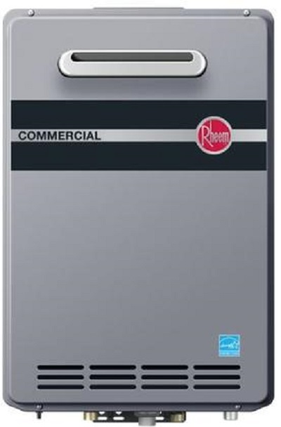 Rheem Outdoor Natural Gas Tankless Water Heater - Built In Manifold